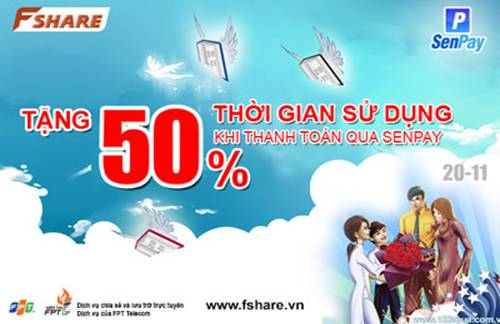 Fshare - FSHARE tặng 50% thời gian qua Senpay.vn