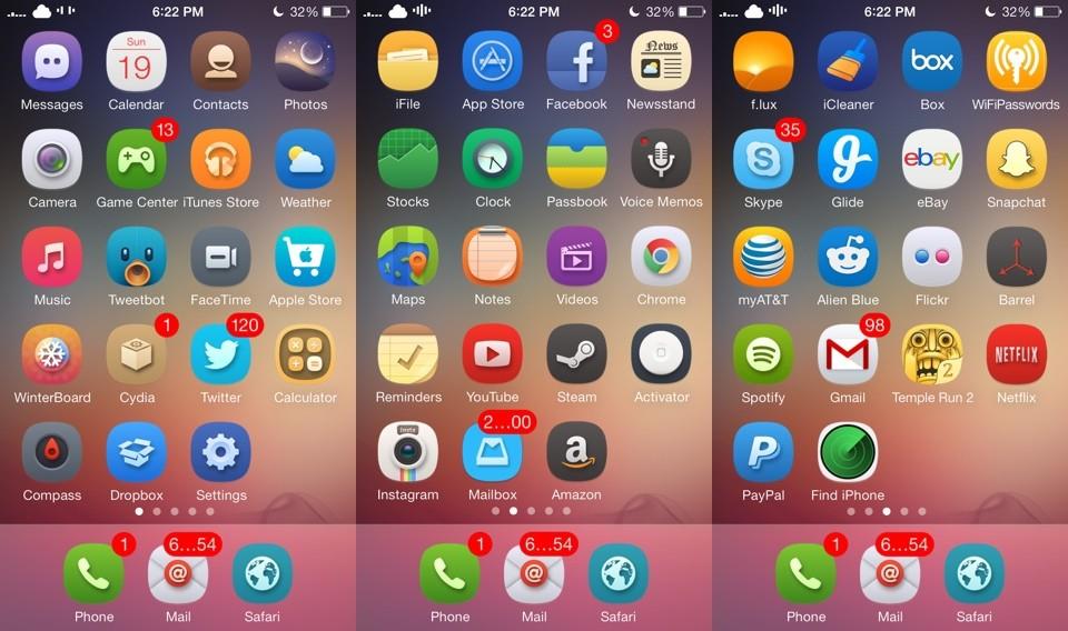 aura ios7 winterboard theme - Aura: bộ giao diện tuyệt đẹp cho iOS 7