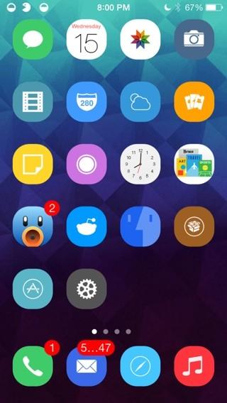 kiki ios7 winterboard theme - Kiki: Mang biểu tượng hình tròn lên iOS 7