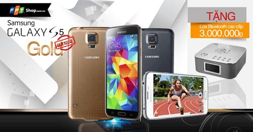 S5 mau vang 1 - FPT Shop bán độc quyền Samsung Galaxy S5 màu vàng
