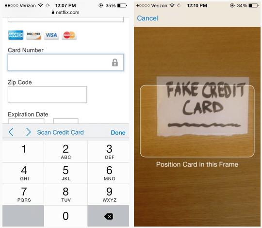 scan credit card - Safari trên iOS 8 cho phép quét thẻ tín dụng