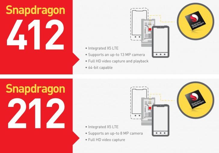 snapdragon 412 - Snapdragon 412 và 212 nâng cấp nhỏ so với 410 và 210