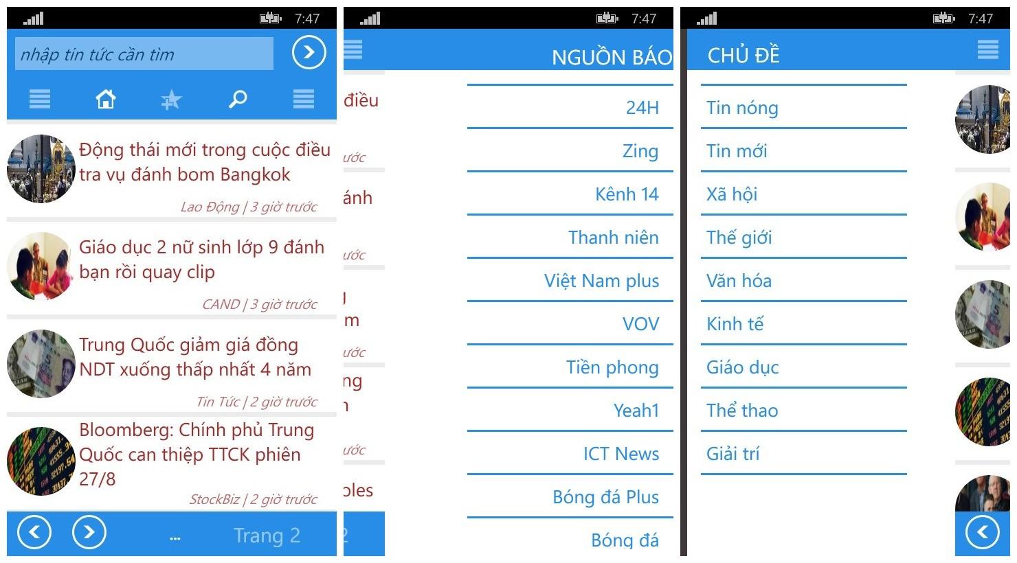 baonong365 - Đọc cùng lúc 40 đầu báo Việt trên Windows Phone