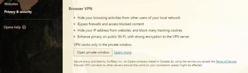 Cách bật VPN trên Opera