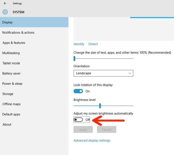 Kích hoạt/vô hiệu hóa tính năng tự điều chỉnh độ sáng màn hình Windows 10