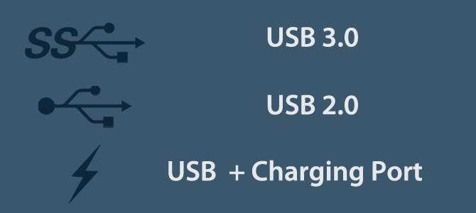 Phân biệt các cổng USB khác nhau bằng biểu tượng