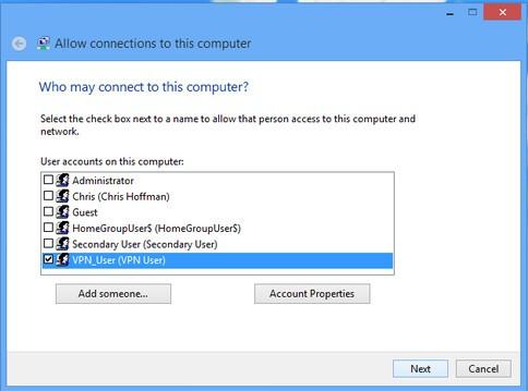 Tạo VPN Server trên Windows 8