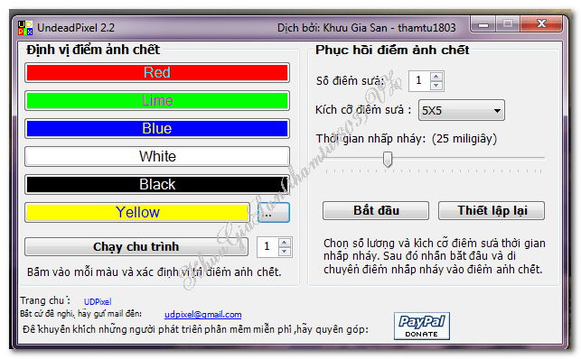 [Việt hóa] UDPixel 2.2 Phần mềm sửa điểm chết trên màn hình LCD tuyệt vời