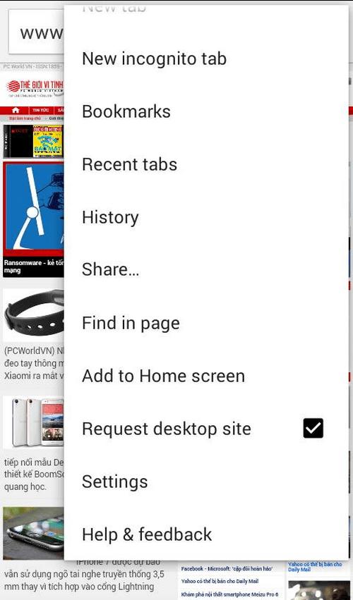 Vô hiệu hóa tính năng hiển thị website ở giao diện di động