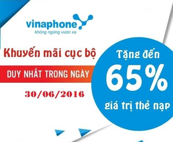 VinaPhone khuyến mãi 65% giá trị thẻ nạp ngày 30/6/2016