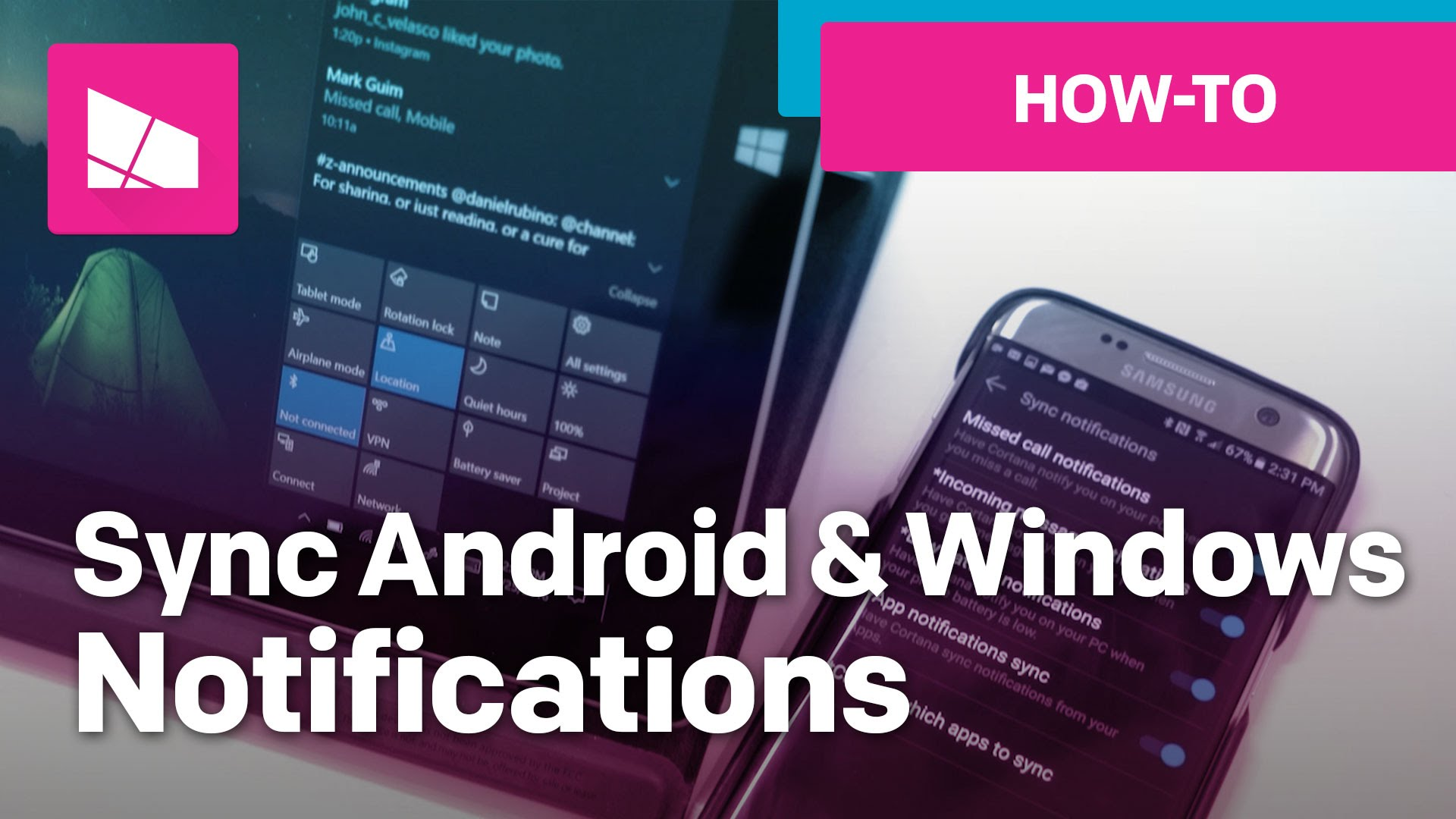 Android Windows 10 sync notifications featured - Hướng dẫn đưa thông báo trên Android lên máy tính bằng Cortana