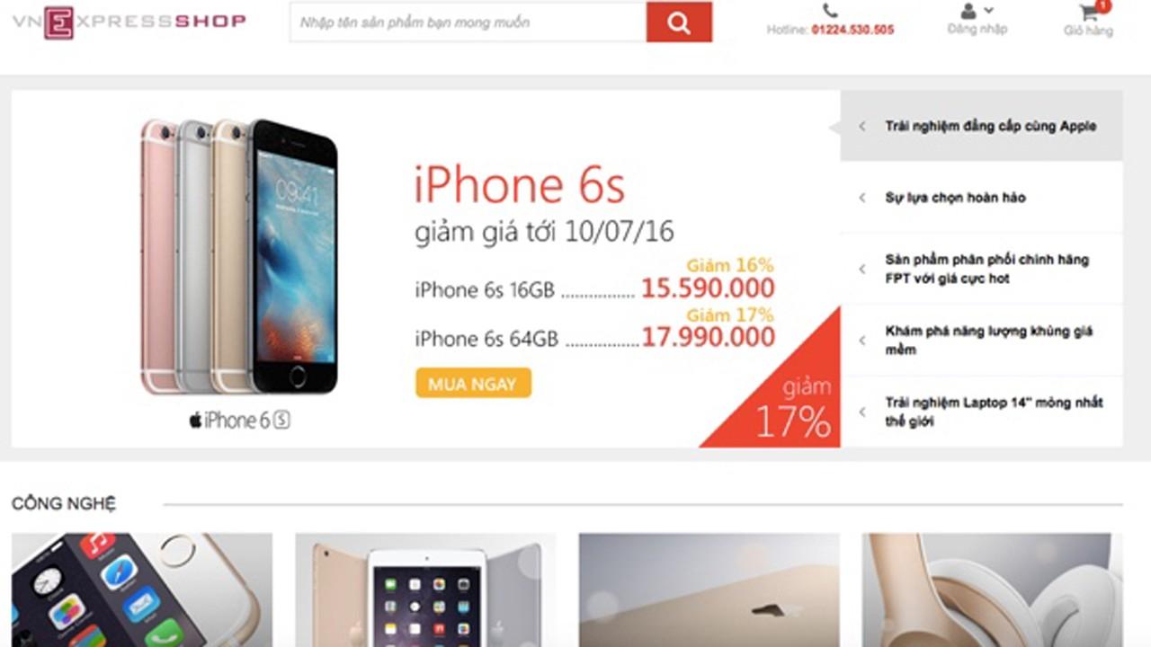VNexpress ban hang cong nghe - Báo VnExpress bất ngờ mở cửa hàng, bán iPhone 6S rẻ hơn Thế Giới Di Động