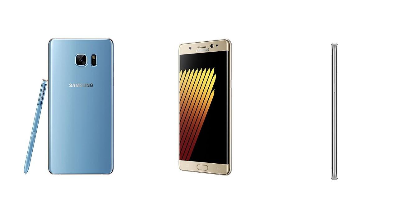 note 7 - Galaxy Note 7 hiện rõ nét trong ba màu Vàng, Xanh và Bạc