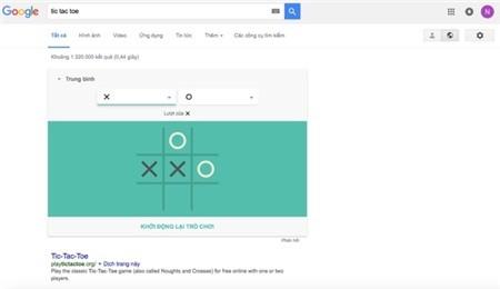Google cho phép chơi ca-rô ngay trên trang tìm kiếm