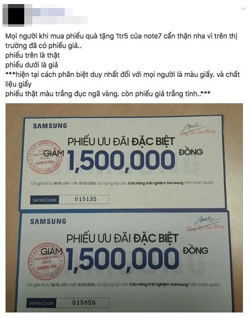 Thu gom voucher 1,5 triệu đồng vụ Note 7, cẩn thận kẻo bị lừa!