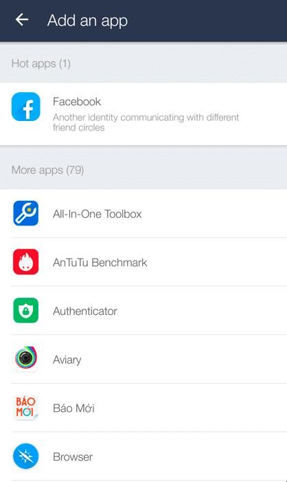 Đăng nhập nhiều tài khoản Zalo, Facebook với Parallel Space