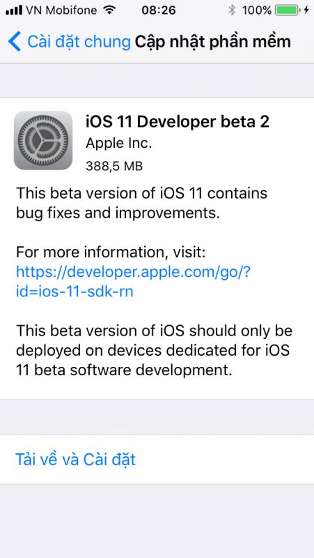IMG 0209 451x800 - Đã có iOS 11 Beta 2, mời bạn tải về