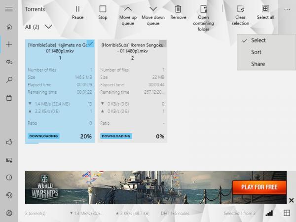 Torrex Lite: Download torrent cho máy tính Windows 10