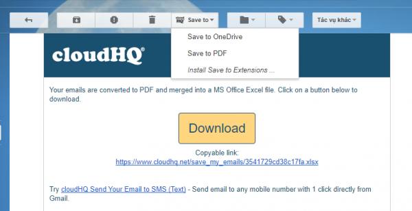 Sao lưu gmail vào OneDrive