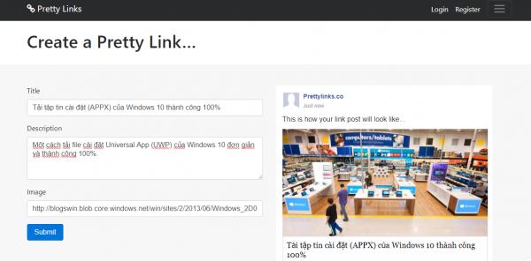 Cách share Facebook sử dụng Pretty Links