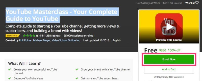 youtube masterclass udemy 800x324 - Bộ tài liệu kiếm tiền trên YouTube trị giá 200USD đang miễn phí