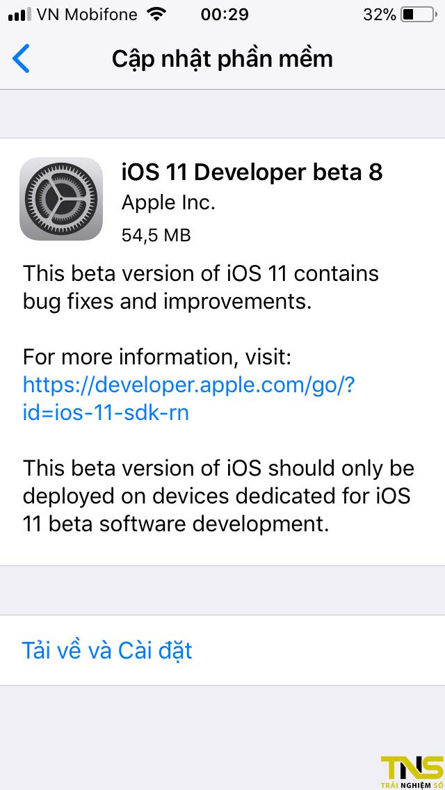 IMG 0313 - iOS 11 beta 8 đã có thể tải về