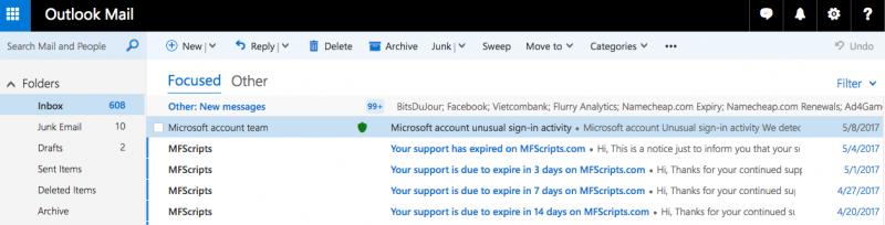 Giao diện Outlook.com cũ