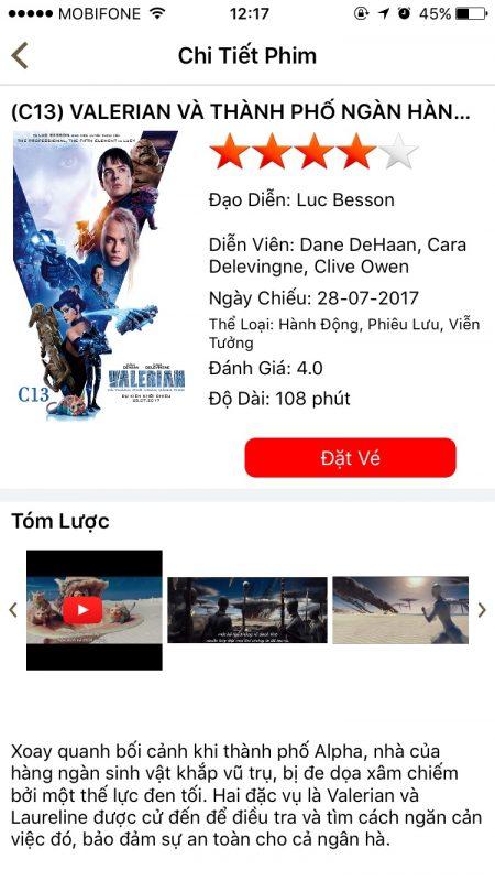 Ứng dụng đặt vé Lotte Cinema