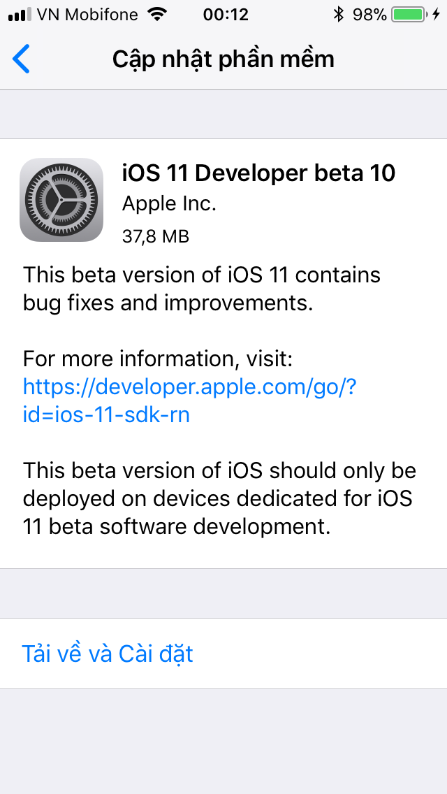 IMG 0315 - Apple ra tiếp iOS 11 beta 10