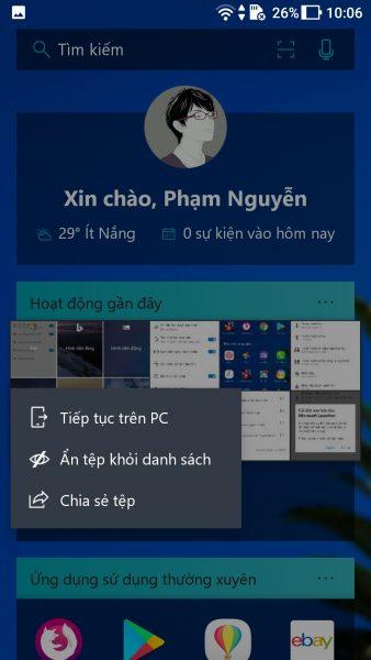 Screenshot 20171006 100640 338x600 - Trải nghiệm Microsoft Launcher mới trên Android
