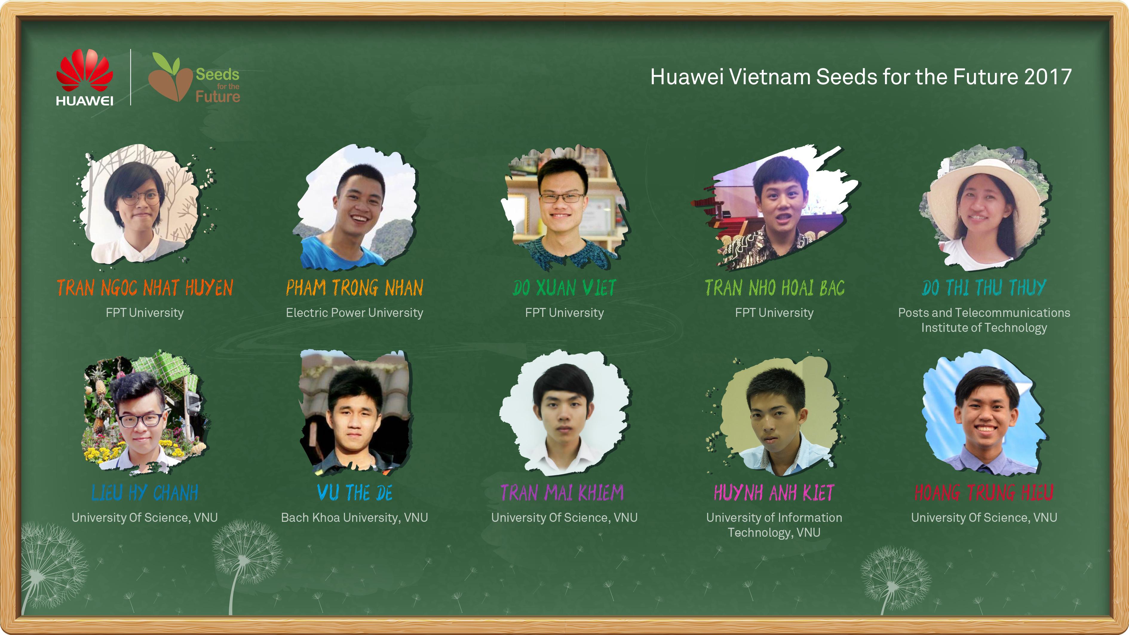 Vietnam Students list Seeds for the Future 2017 - 10 sinh viên ưu tú được nhận Học bổng Hạt giống Viễn thông Tương lai 2017 của Huawei