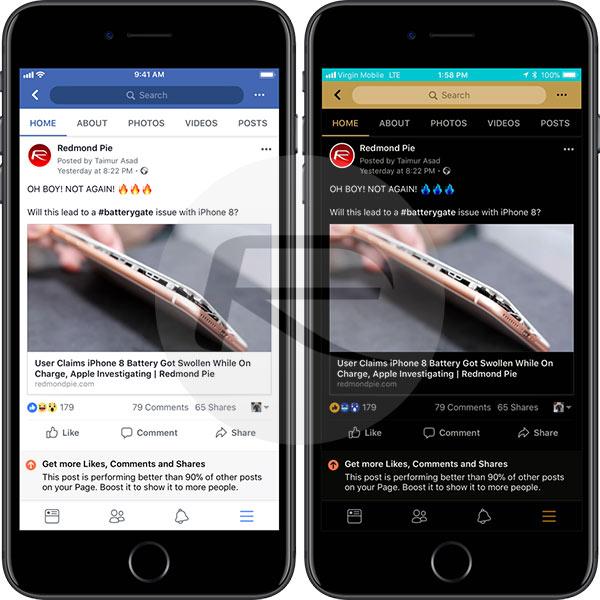 iOS 11 facebook dark mode - Facebook đã chính thức hỗ trợ Dark Mode cho iOS 11