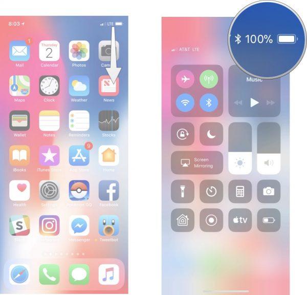Hiển thị phần trăm pin trên iPhone X