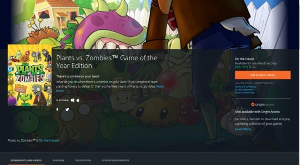 Plants vs. Zombies Game of the Year Edition free Origin