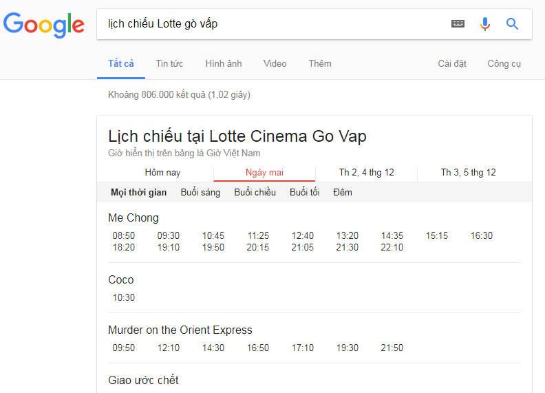 lich chieu go vap - Cách xem lịch chiếu phim rạp trên Google, bạn biết chưa?