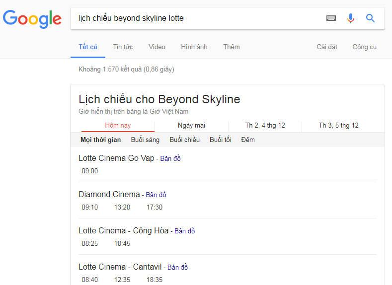 lich chieu lotte - Cách xem lịch chiếu phim rạp trên Google, bạn biết chưa?