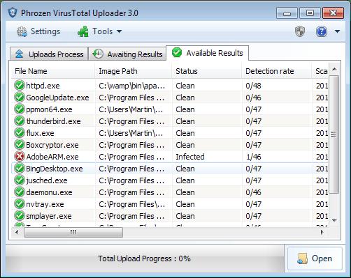 phrozen virustotal uploader 3.0 - Phrozen Virustotal Uploader 3.0: quét virus trực tuyến