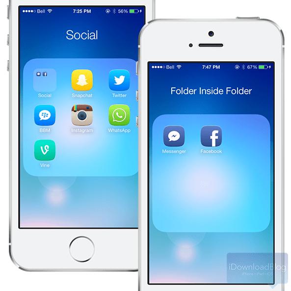 BetterFolders iOS 7 - BetterFolders: folder lồng folder trên iOS 7