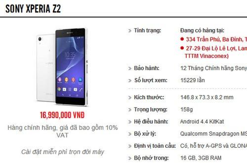 Z2 - Đặt hàng trước Sony Xperia Z2 chính hãng, giá khoảng 17 triệu đồng