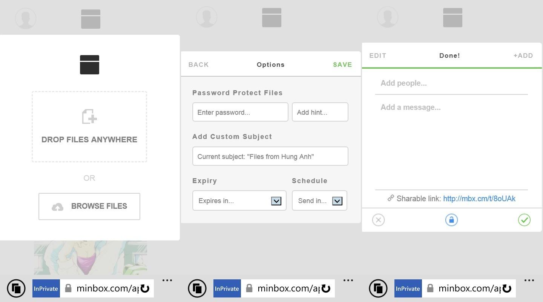 minbox - Làm sao chia sẻ file tự hủy qua mobile?