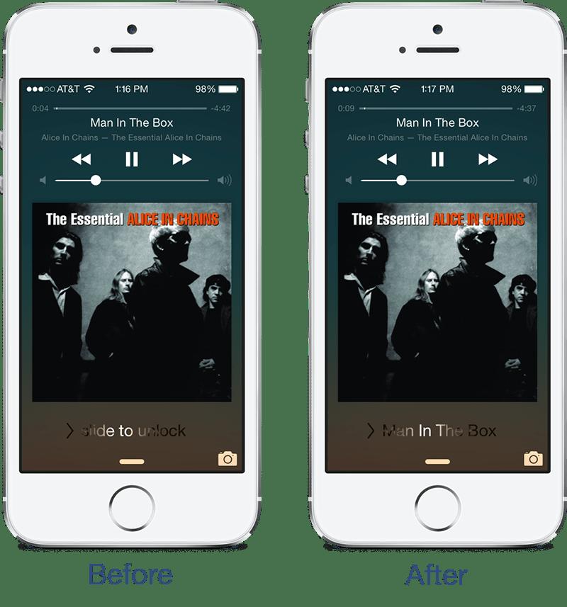 music slide 1 - Đổi giao diện nút slide to unlock với Music Slide