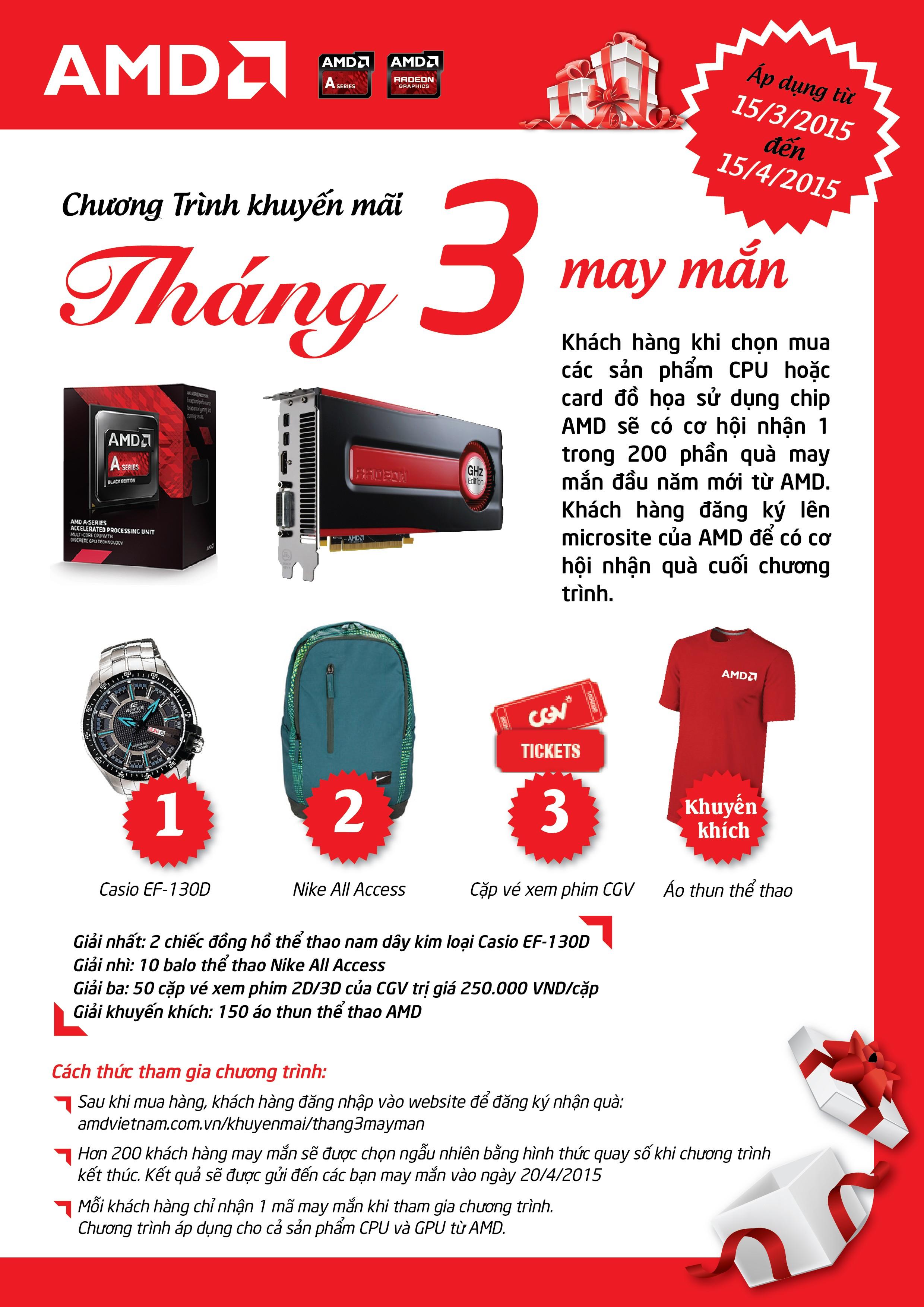 """Leaflet Thang 3 may man - AMD tung ra chương trình khuyến mãi """"Tháng 3 may mắn"""""""