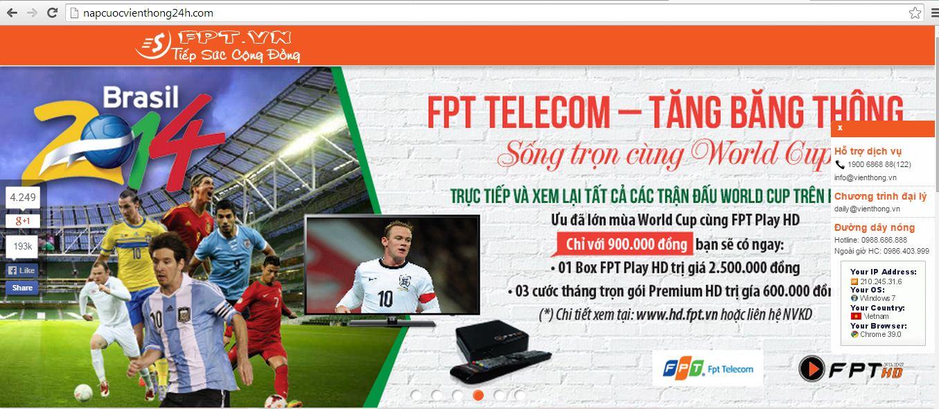 Website gia mao 5 - Cảnh báo website giả mạo FPT Telecom