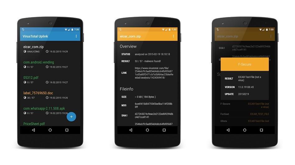 virustotal uplink - Quét mã độc trực tuyến trên Android