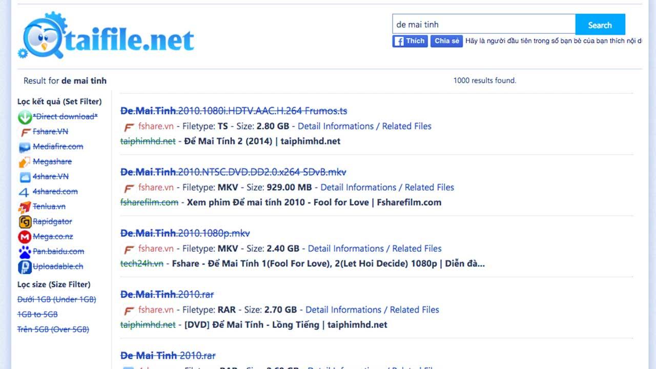 Hướng dẫn tìm file trên Fshare, 4share, MEGA co nz