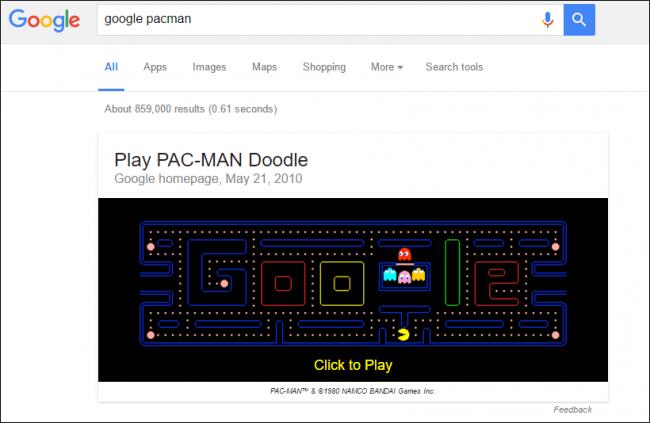 google pacman - 12 game ẩn trên các sản phẩm Google