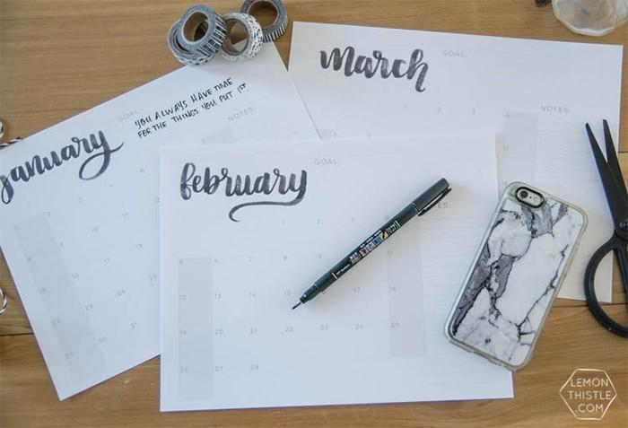 2017 calendar hand letter - Mời bạn tải về trọn bộ 20 bộ lịch in mới cho năm 2017