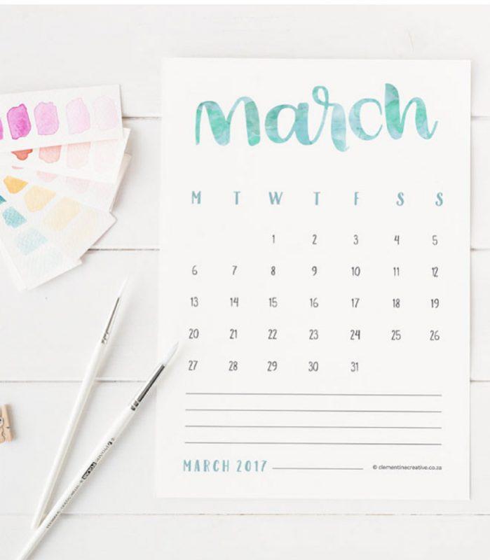 2017 printables calendar hand letters 699x800 - Mời bạn tải về trọn bộ 20 bộ lịch in mới cho năm 2017