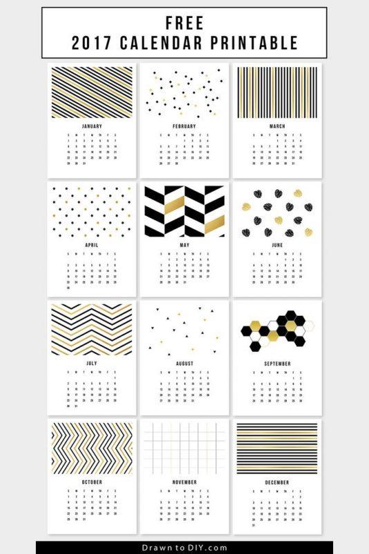 free 2017 stylish calendar 1 534x800 - Mời bạn tải về trọn bộ 20 bộ lịch in mới cho năm 2017