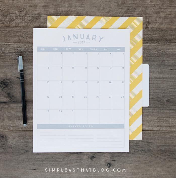 free minimalistic 2017 calendar - Mời bạn tải về trọn bộ 20 bộ lịch in mới cho năm 2017
